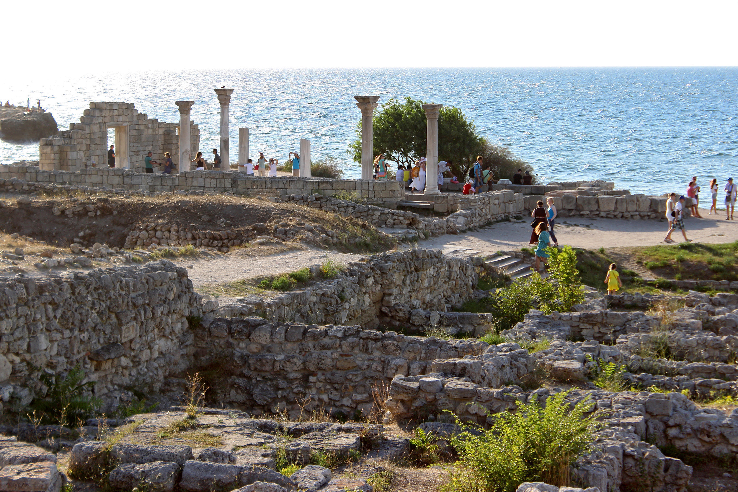 Tourists at the Chersonesus of Tavrida Museum-Reserve