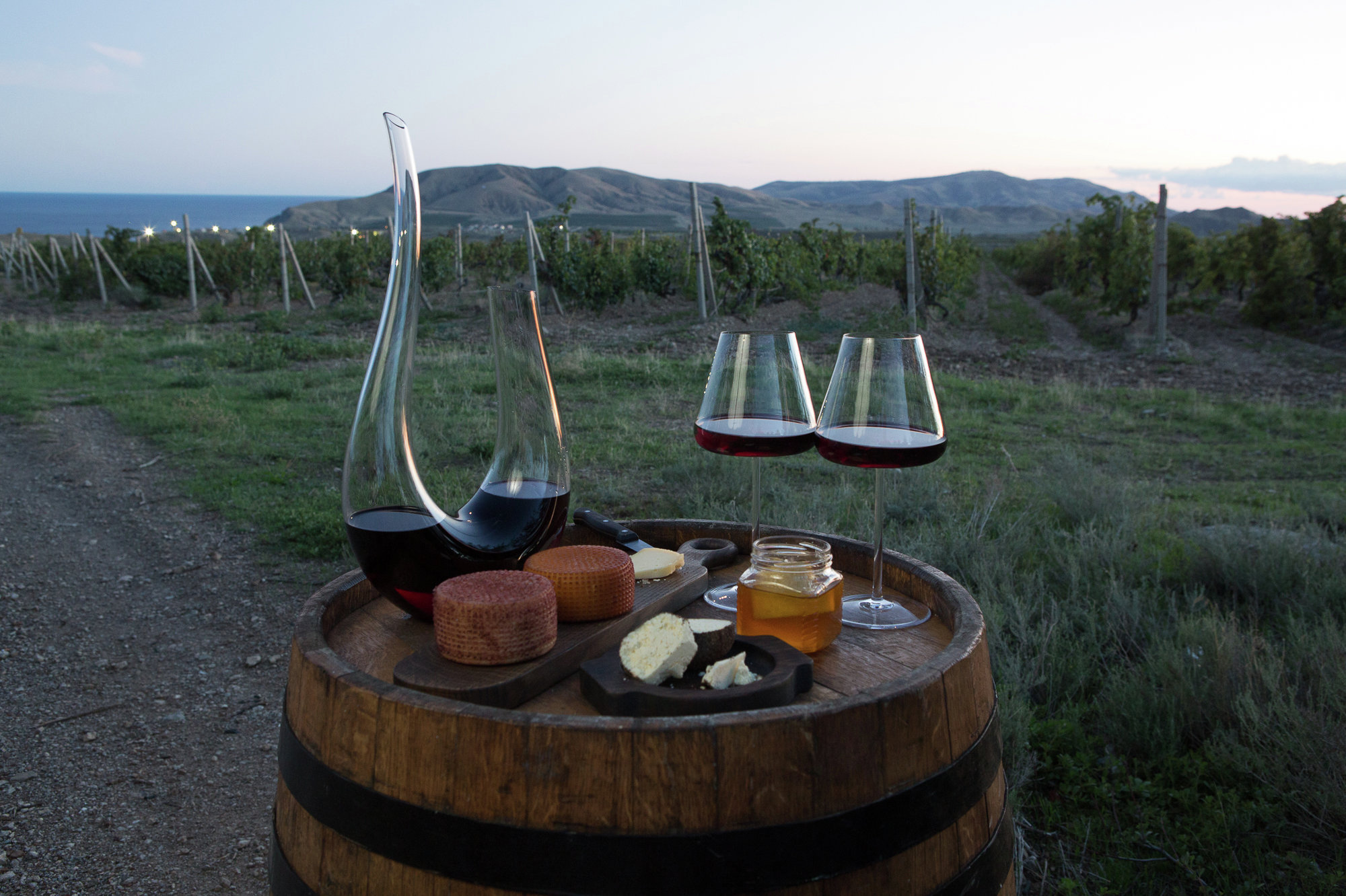 Crimean wine, cheese and honey