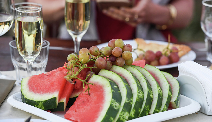 Watermelon, grapes and wine
