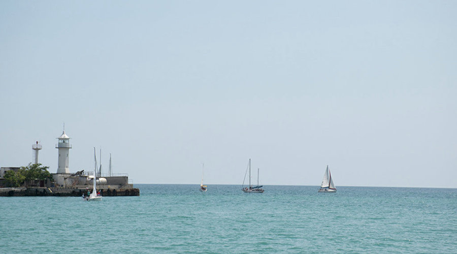Sailboats in the waters of Yalta
