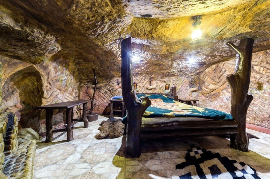 Cave for settling tourists in the eco-estate Eski-Kermen in the Bakhchisarai district