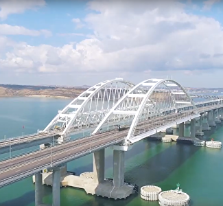 Majestic and modern: a view of the Crimean Bridge from a copter